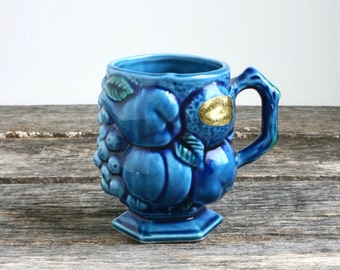 Vintage Inarco Mood Indigo Blue Coffee Mug Cup, Ceramic Fruit, Blue Coffee Cup with Pedestal Base, Blue Kitchen Dinnerware, 60s 70s