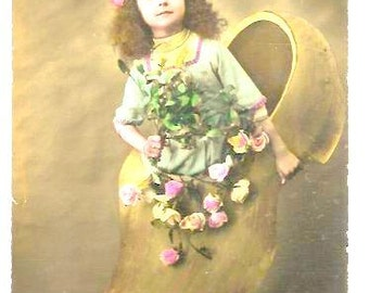 Vintage - Young GIRL in CLOG, FLOWERS - Art Deco French Colored Portrait Postcard - Holiday Wishes, Greetings -written, Good condition