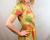 VintagePsychedelic Mod Orange Green Ethnic Handmade Costume Swirl Mini Dress