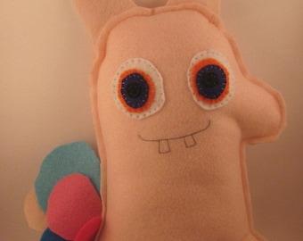 Stuffed felt monster rainbow fart bunny toy hand sewn rainbow rabbit plushie
