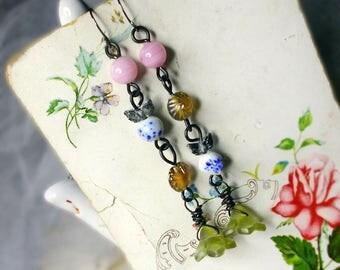 Beaded Drop Earrings - Rustic Glass Assemblage - Butterflies - Steel - Pondwater Flowers, Amber Wash Pressed Glass - Vintage Japan Pink
