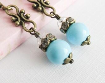 Turquoise blue earrings, dangle earrings, long earrings, gift for her, blue rustic jewelry, bronze jewelry