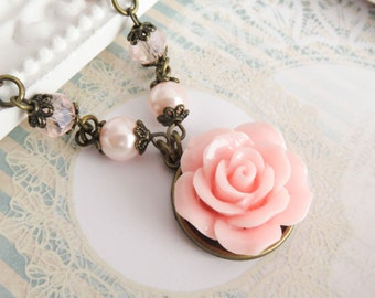 Pink flower necklaces, rustic bridesmaid necklace, bridesmaid gift, pearls, wedding jewelry, country wedding, bridal party gift