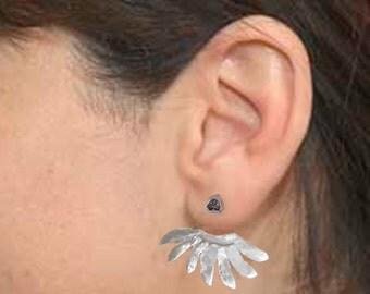 Sun Rays EarJackets, Modern Minimalist Earrings, Sterling Silver, Celestial Spikey, Metalsmith Earjacket, Goddess, Sun, Egyptian, Viking