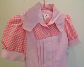 Retro New Old Stock Original Vintage 1950's Pink Polyester Diner Waitress Maid Dress