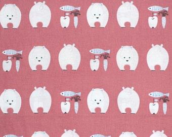 Kiyohara Japanese fabric - kawaii polar bears in cotton / linen canvas - 1/2 YD