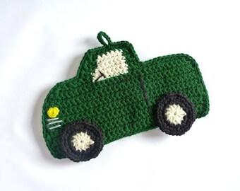 Crochet Pot Holder Truck Pot Holder Truck Hot Pad Crochet Hot Pad Hunter Green Truck Vehicle PotHolder Novelty Home Decor Kitchen Linen