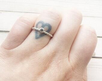 Smoky Quartz And Sterling Silver Ring | Dainty Ring | Smoky Quartz Ring | Stacking Ring | Sterling Silver Ring | Gemstone Ring |
