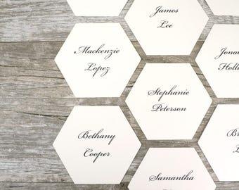 Geometric Hexagon Place Cards Set of 24