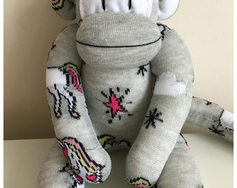 Grey unicorn rainbow sock monkey