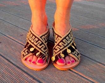 Greek Sandals 'Kassandra' | Greek Key Sandals | Boho Chic Sandals | Meander Sandals | Black & Gold Sandals