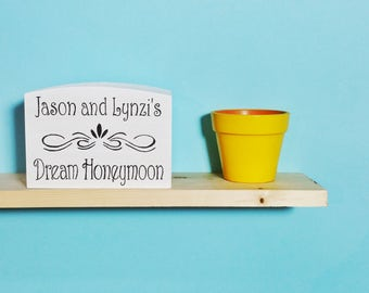 Personalised Honeymoon Money Box - Wooden Wedding Savings Box - Engagement Gift - White Wedding Fund - Holiday - Vacation - Piggy Bank