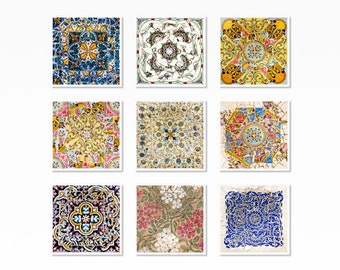 Wall Art, Wall art print, set of 9, Gallery wall art, living room wall art, Spanish tile, Gaudi, Barcelona print, Mosaic Tile