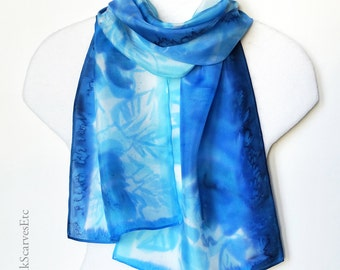 Handpainted silk scarf, Floral silk scarf, Artist silk, Abstract scarf, Blue watercolor silk scarf, Floral blue white silk, Mom's gift