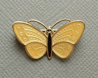 AKSEL HOLMSEN Vintage Guilloche Enamel BROOCH, Yellow Insect Butterfly Pin, Sterling 925 Norway Norwegian Enamel Jewelry, Gift for Her