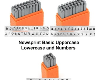 ImpressArt Basic NEWSPRiNT UPPERCASE, LOWERCASE and Numbers Metal Stamp Set Alphabet Economy Stamping Kit 3mm Typewriter Typestyle
