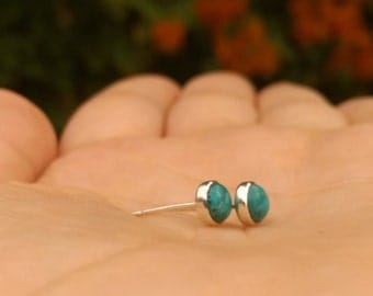 turquoise earrings, turquoise silver studs, turquoise post earrings, turquoise silver jewelry, birthstone jewelry, genuine turquoise