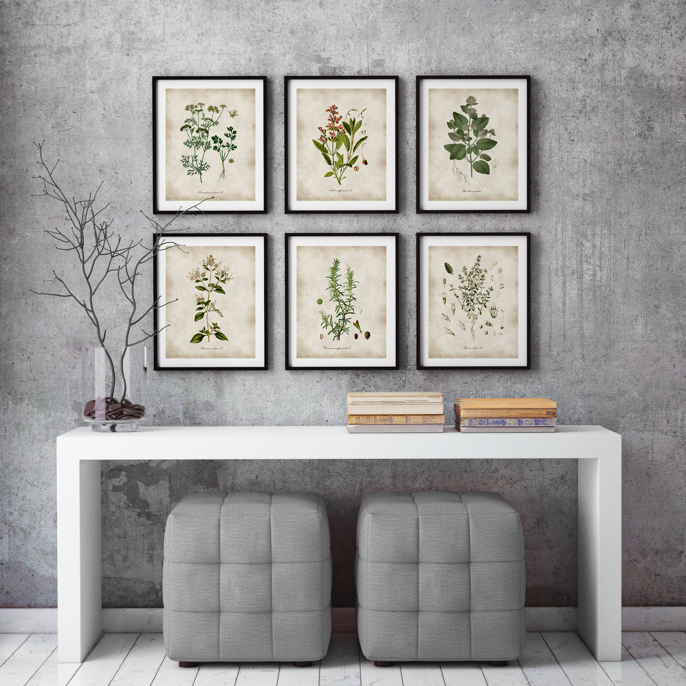 Herbs Print Kitchen Wall Art Botanical Poster Herb Poster