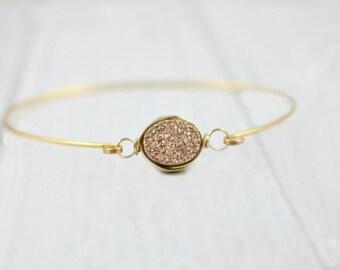Druzy Bracelet, Dainty Minimalist Bracelet, Thin Delicate Bracelet, Gold Druzy Bracelet, Rose Gold Bangle, Bridesmaid Gift, Wedding bracelet