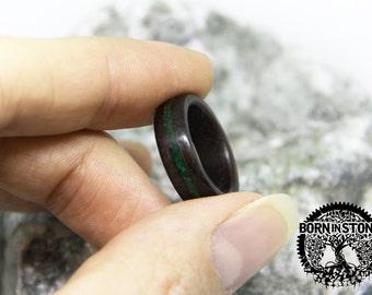 Mens wood ring Womens wood ring Malachite ring Wood band Wood ring Wooden ring Ring for womens Husband gift Wedding band Ring for mens