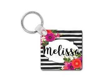 Monogram Keychain-Personalized Keychain-Floral Keychain