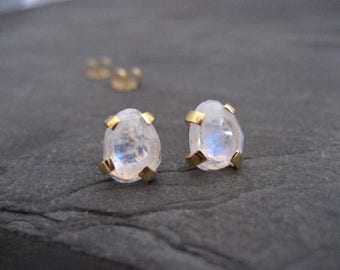 Moonstone studs, rainbow moonstone, rose cut earrings, color flash, irregular shaped, faceted moonstone, post earrings, genuine gemstone