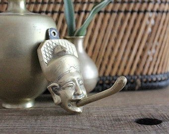 Vintage Mid Century Exotic Asian Man Long Tongue Brass Wall Hook