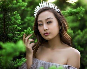 Frosted Crystal Crown** Crystal Crown. Quartz Crown. Bridal Crown. Coachella Crown. Crystal tiara. Wedding hair. Quartz point crown.