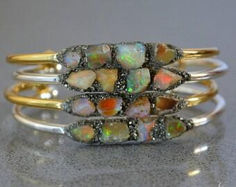 Raw Opal Bracelets - Raw Opal Jewelry - Raw Gemstone Bracelet - October Birthstone Jewelry Mother's Day Gift Ideas Wedding Anniversary Gift