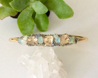 Herkimer Diamond Bracelet, Raw Opal Gemstones, Herkimer Cuff Bracelet, Raw Crystal Bracelet, Bridesmaid Gift, Wedding Jewelry, Gift For Her