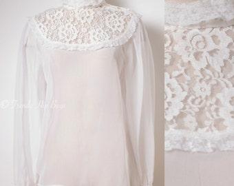 Vintage Victorian Top, Vintage white Top,Vintage Lace top, Vintage sheer top, white lace top, 70s top,Sheer white top,Vintage blouse,  - S/M