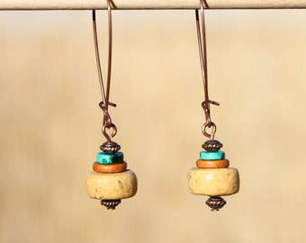 Yellow earrings Dangle Drop Earrings Copper Earrings Ceramic Earrings Boho Earrings Boho Jewelry Chic Gift for women Gift for her