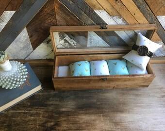 Handmade watch box - deer head - triangles - watch case - glass watch box - watchbox - Limited fabric