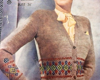 Vintage knitting pattern 1940's Bestway A1917 Women's Fair Isle cardigan 36""