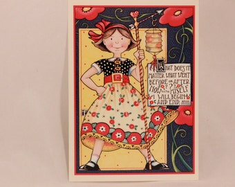 Mary Engelbreit Ink Greeting Card. Single Card with Envelope per purchase. Sassy Girl