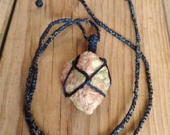 Raw Unakite Crystal Necklace