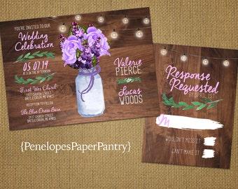 Rustic Mason Jar Wedding Invitation,Purple Roses,Purple Lilacs,Fairy Lights,Rustic Wood,Spring Wedding,Romantic,Custom,Wedding Set,Opt RSVP