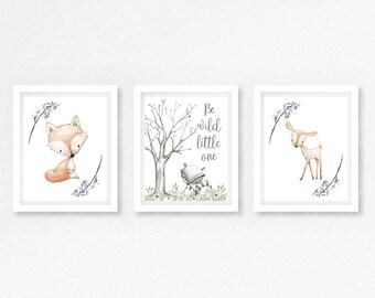 Gender Neutral Nursery Decor, Woodland Nursery Prints, Woodland Baby Shower Gift, Neutral Baby Gift, Woodland Nursery Wall Art, Baby Prints