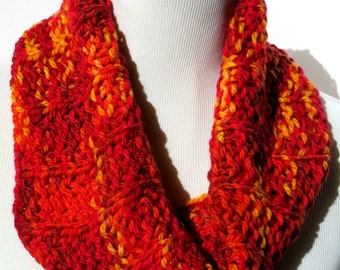 Red Scarf - Multicolor Scarf - Red Loop Scarf - Orange Scarf - Circle Scarf - Infinity Scarf - Snood - Cowl Scarf - Eternity Scarf  Handmade