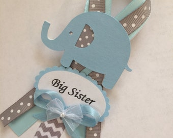 Big sister baby shower pin/big sister corsage/elephant baby shower corsage/Grey and light blue baby shower corsage/