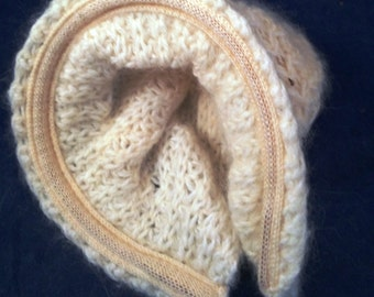 Hand Knit childs hat off white color