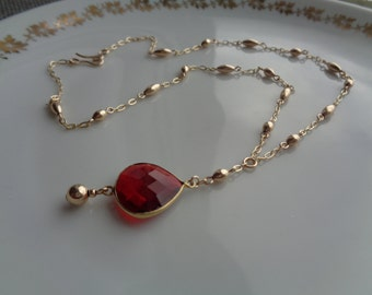 Gold chain, 585 goldfilled with hydro Garnet Y necklace