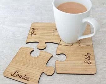 Personalised Family Set Of Four Oak Wood Jigsaw Coasters
