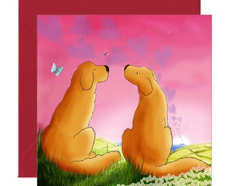 Golden Retriever Valentine Card - I Love You - Be My Valentine - Love is Like a Butterfly - You're The Best - Friends - Love - Love Hearts