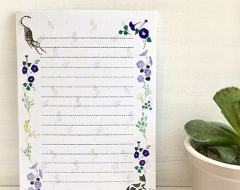 Illustrated notepad, watercolor notepad, cat notepad, animal memo pad,botanical to do list, mini letter pad