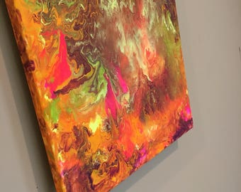Free shipping orange sunset abstract drip painting