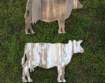 Large Wooden Cow Wall Art Reclaimed Wood Cow Decor