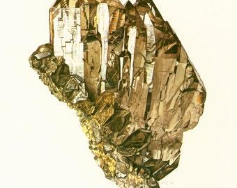 1970 Smoky Quartz Crystal Cluster Print. Vintage geology Illustration.