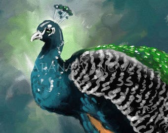 Peacock Art Print, Giclee Prints, Oil Painting, Birds Art Prints, Blue Home Decor