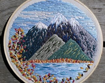 """Fall Mountain / Embroidery Hoop Landscape Scene 6"""" Hoop"""